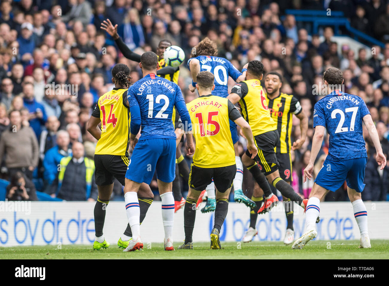 LONDON, ENGLAND - MAY 05: David Luiz of  Chelsea FC scoring goal during the Premier League match between Chelsea FC and Watford FC at Stamford Bridge on May 5, 2019 in London, United Kingdom. (Photo by Sebastian Frej/MB Media/Getty Images) - Stock Image