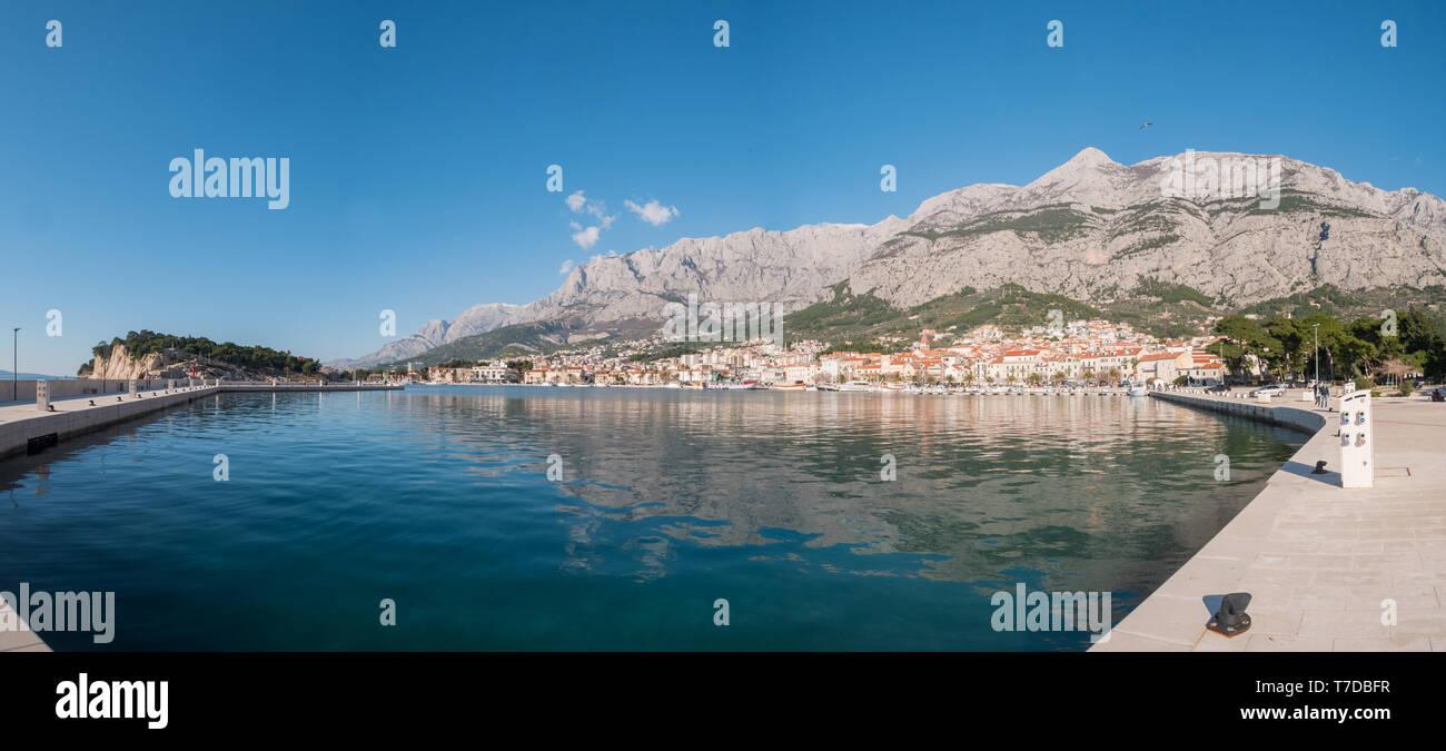 Panorama of city Makarska in Croatia on sunny day - Stock Image