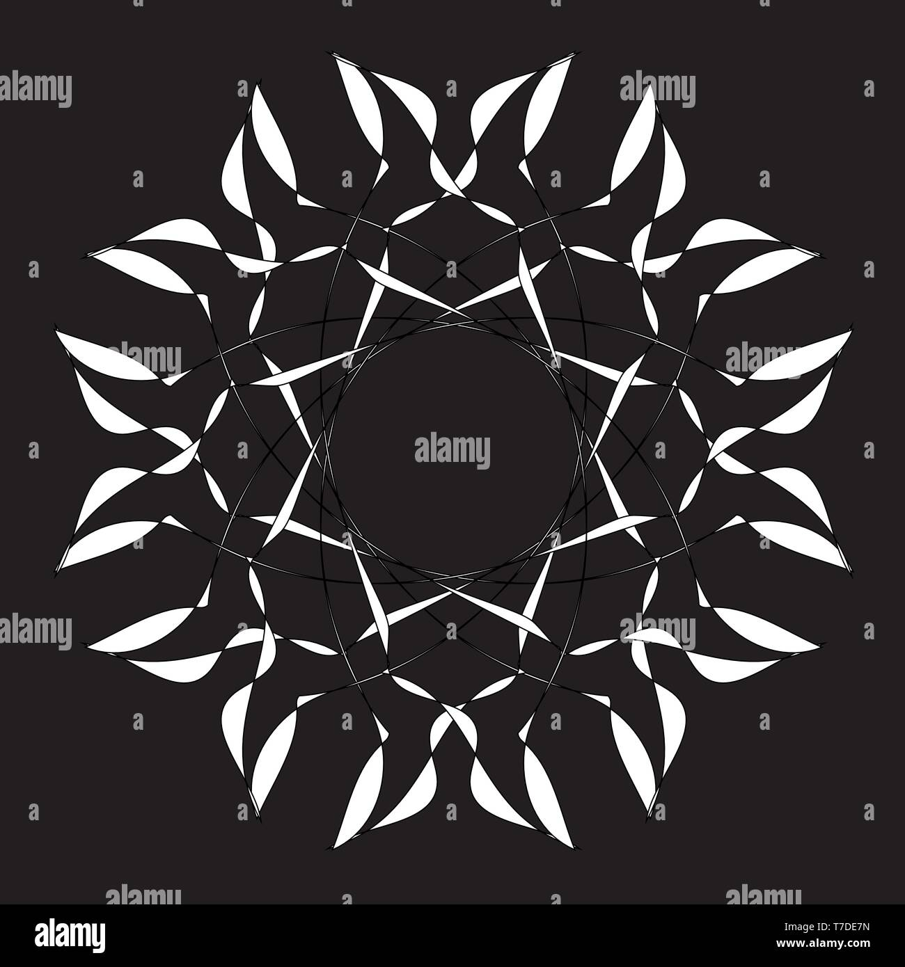 White mandala. Round Ornament Pattern on black background. Vector illustration. Stock Vector