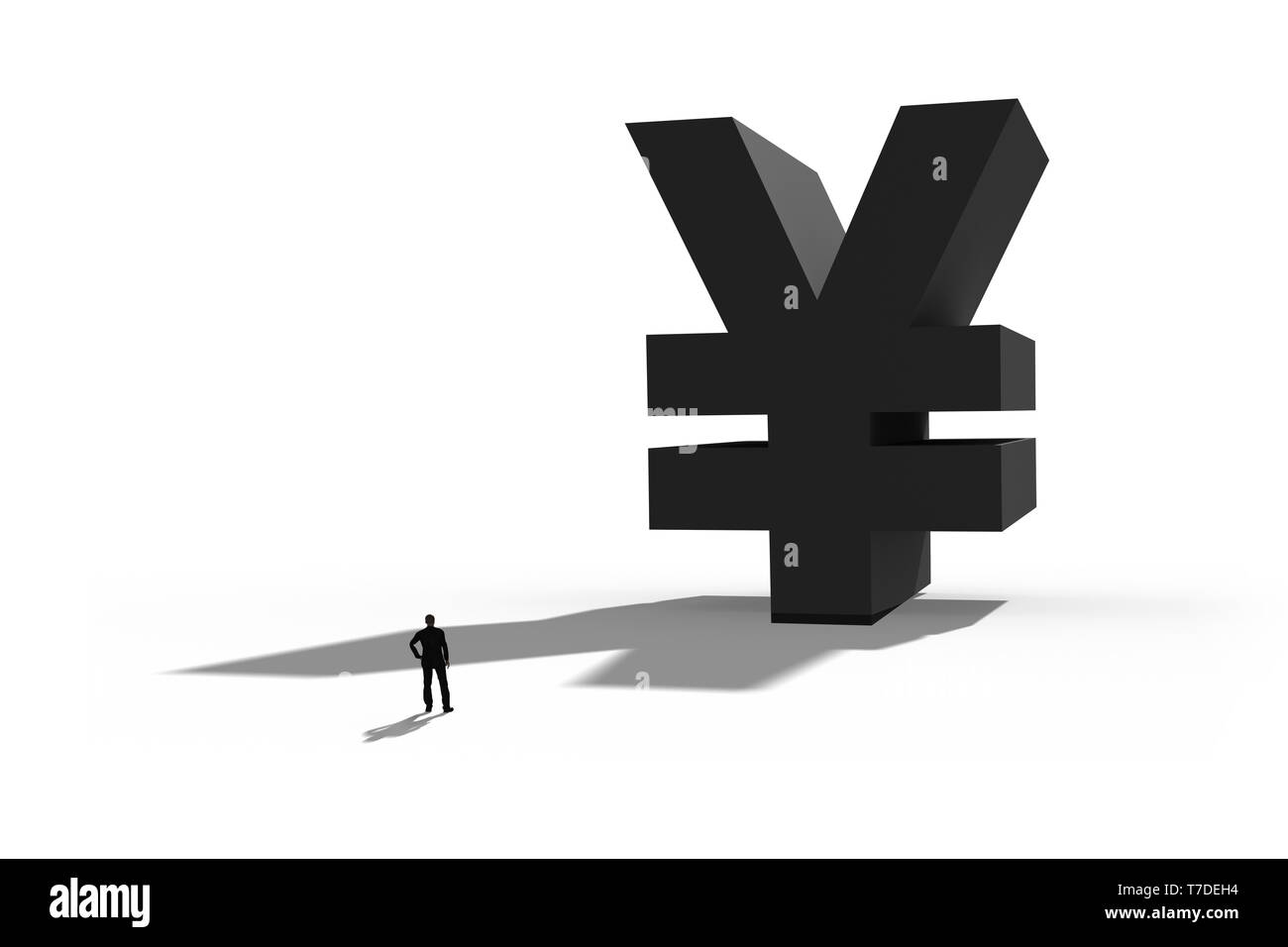 Businessman standing in front of a giant Yen symbol. Internet payment,finance and business concept. 3D illustration. - Stock Image