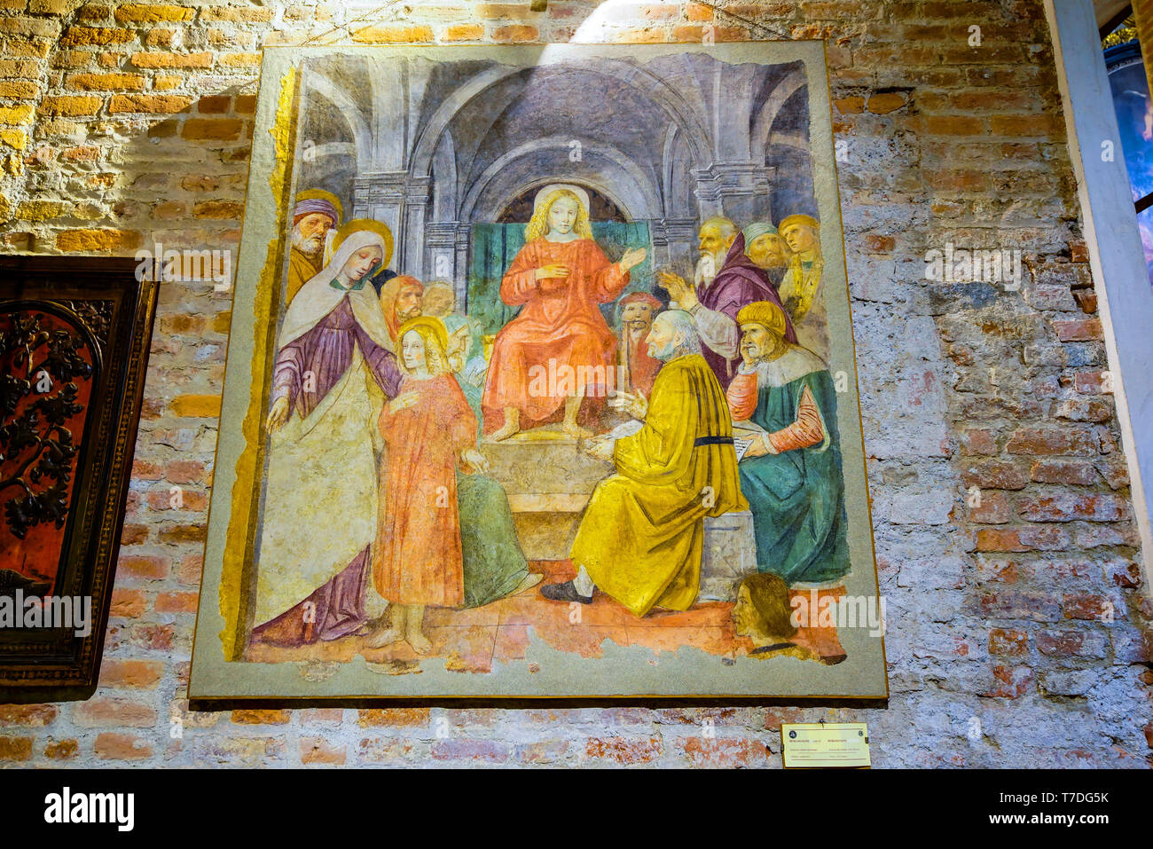Jesus among the Doctors of the temple by artist Ambrogio Borgognone, Basilica di Sant'Ambrogio, Milan, Lombardy, Italy. - Stock Image