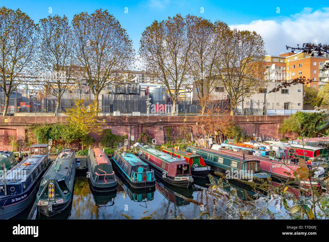 Narrow Boats on The  Grand Union Canal,London - Stock Image
