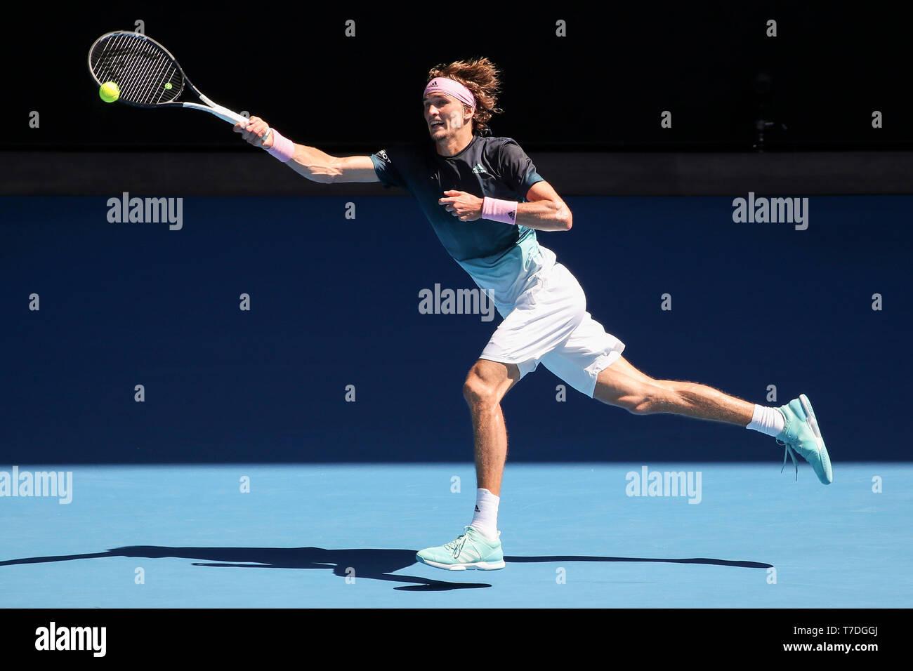 German tennis player Alexander Zverev playing forehand shot in Australian Open 2019 tennis tournament, Melbourne Park, Melbourne, Victoria, Australia - Stock Image