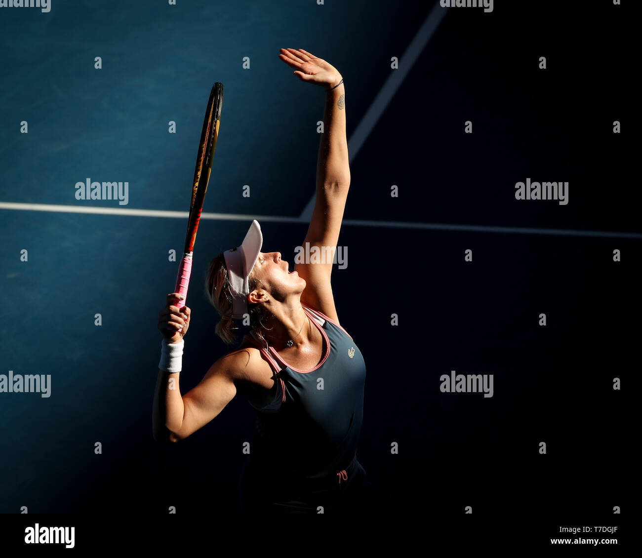 Russian tennis player Anastasia Pavlyuchenkova serving in Australian Open 2019 tennis tournament, Melbourne Park, Melbourne, Victoria, Australia - Stock Image