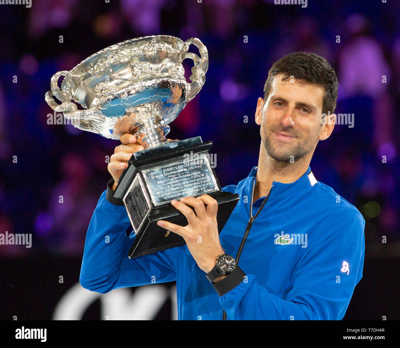 Serbian Tennis Player Novak Djokovic Posing With Trophy Melbourne Park Melbourne Victoria Australia Stock Photo Alamy