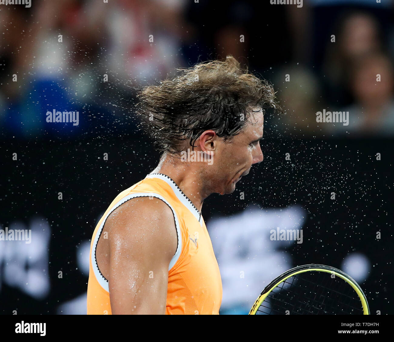 Spanish tennis player Rafael Nadal after winning his match at the Australian Open 2019 tennis tournament, Melbourne Park, Melbourne, Victoria, Austral - Stock Image