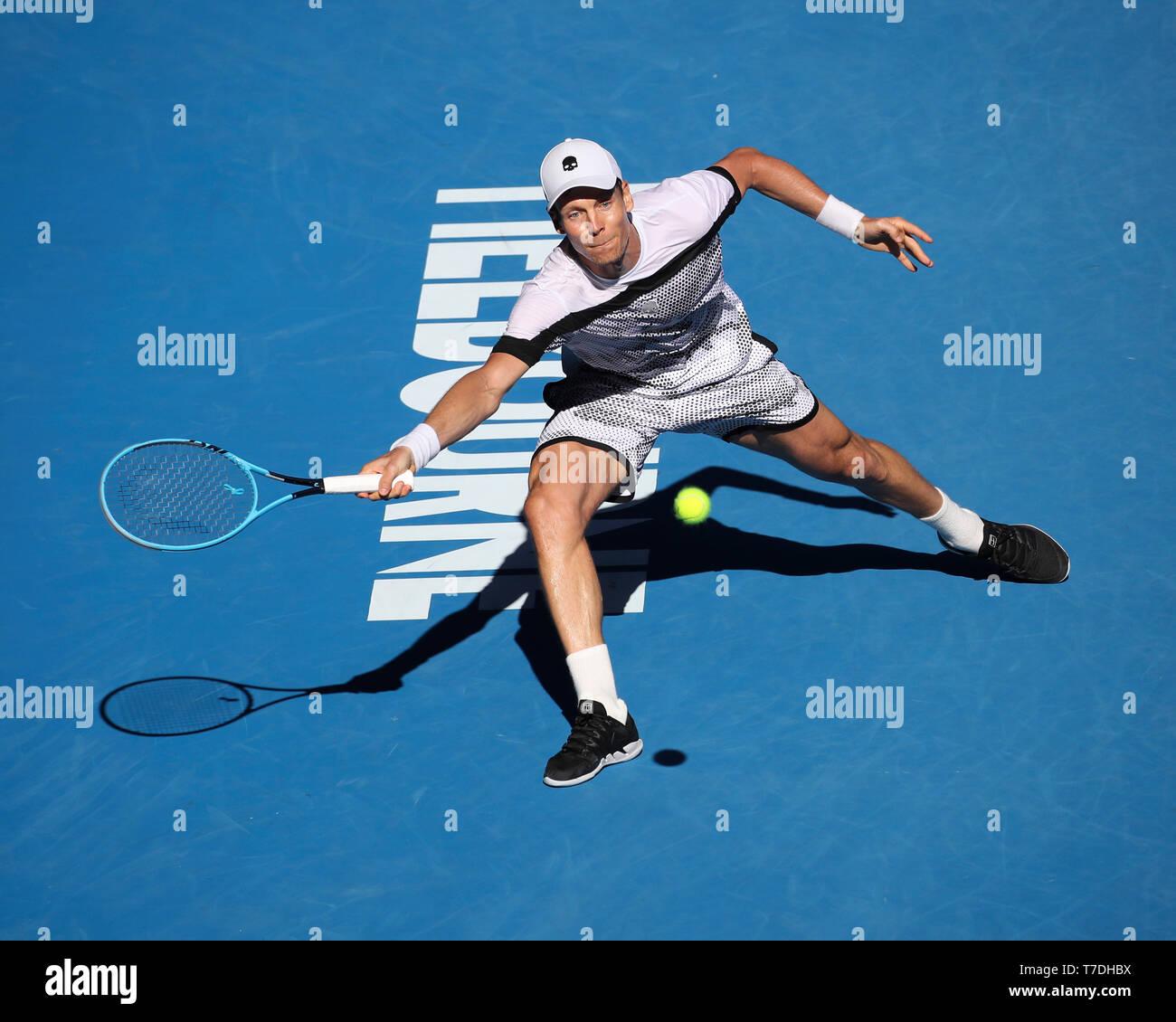 Czech tennis player Tomas Berdych playing forehand shot in Australian Open 2019 tennis tournament, Melbourne Park, Melbourne, Victoria, Australia - Stock Image