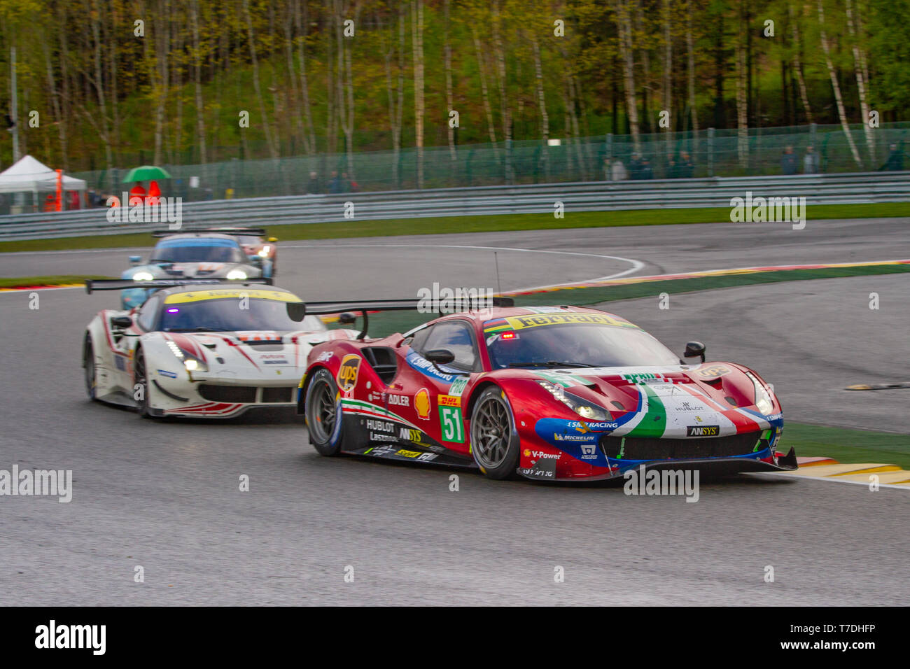 AF Corse Ferrari 488 leads through Les Combes chicane. WEC Total 6 Hours of Spa-Francorchamps 2019. No. 51 was 2nd in LMGTE Pro category. Stock Photo