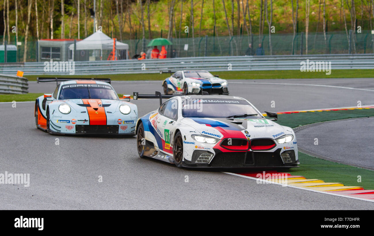 MTEK BMW M8 leads through Les Combes chicane. WEC Total 6 Hours of Spa-Francorchamps 2019 Stock Photo
