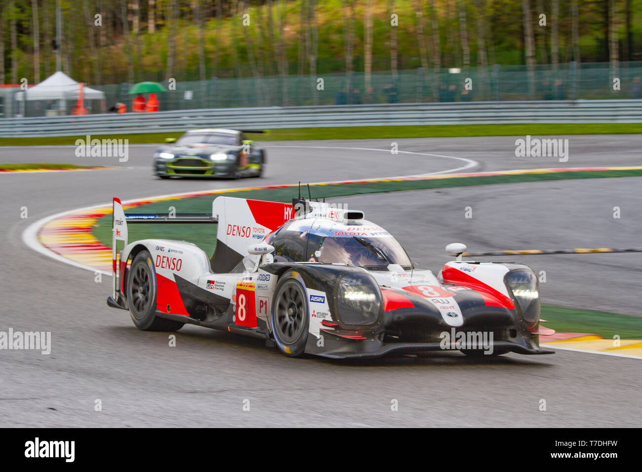 Toyota LMP1 Hybrid leads through the Les Combes chicane. WEC Total 6 Hours of Spa-Francorchamps 2019. This car was the overall winner. Stock Photo