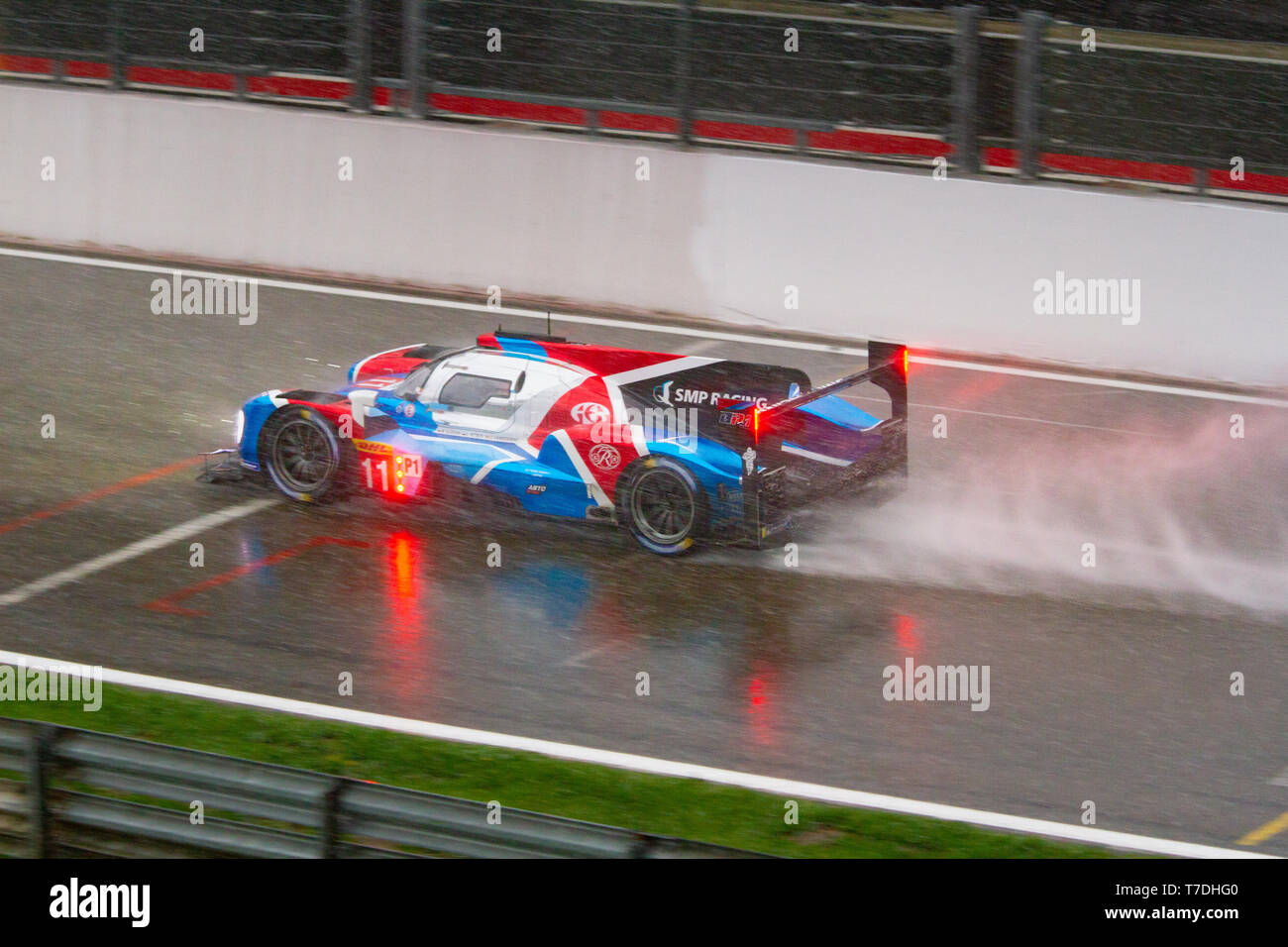 SMP Racing LMP1 kicks up spray on the approach to Eau Rouge. WEC Total 6 Hours of Spa-Francorchamps 2019. This car came 3rd overall. Stock Photo