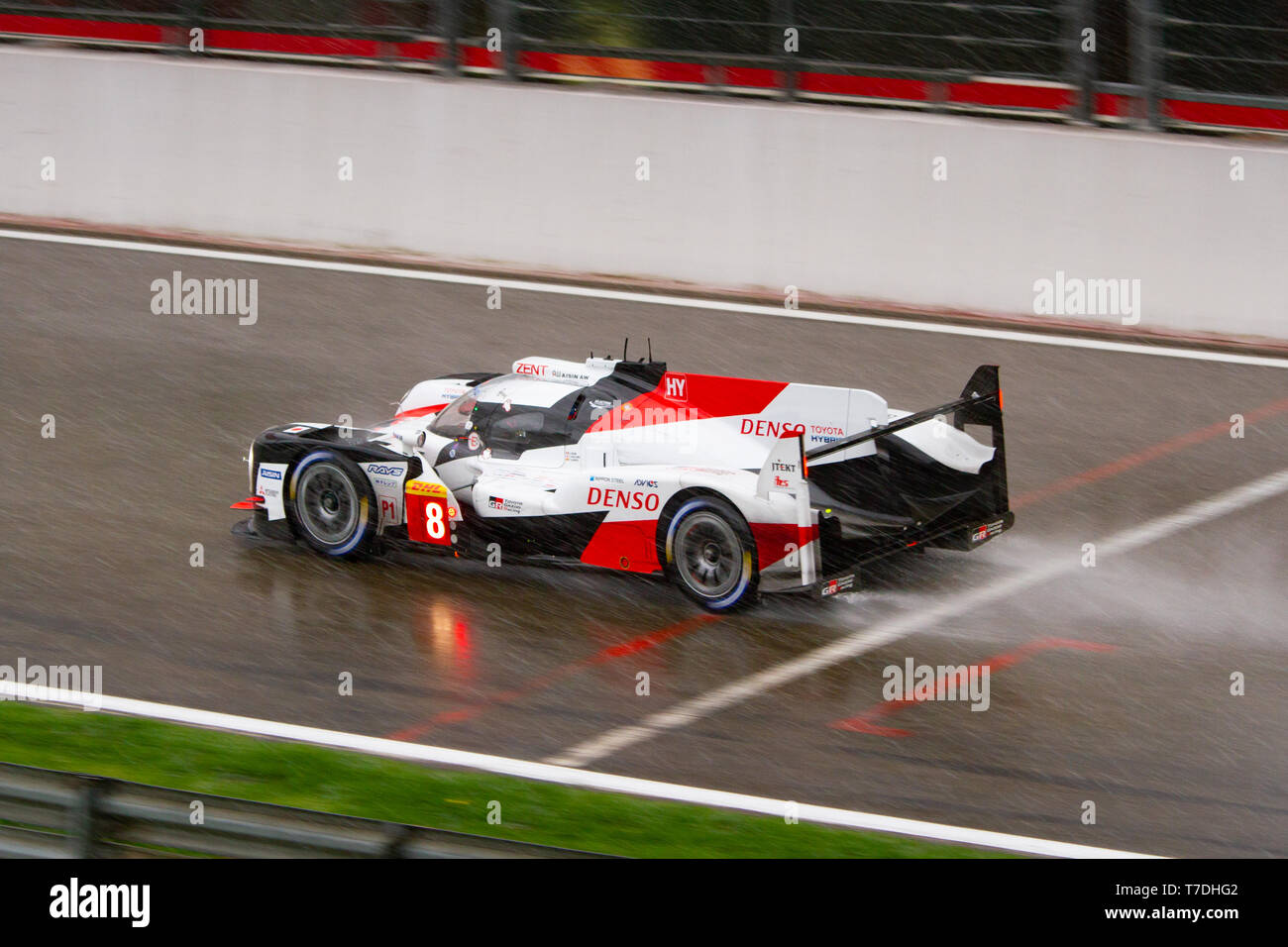 Toyota LMP1 Hybrid kicks up spray on the approach to Eau Rouge. WEC Total 6 Hours of Spa-Francorchamps 2019. This car was the overall winner. Stock Photo