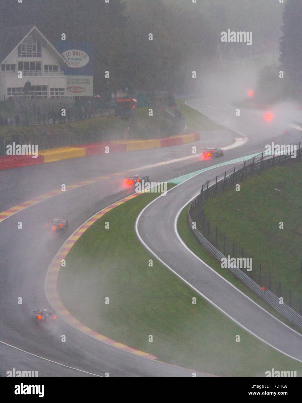 Rain, sleet, and snow as race cars carefully make their way through Raidillon. WEC Total 6 Hours of Spa-Francorchamps 2019. - Stock Image