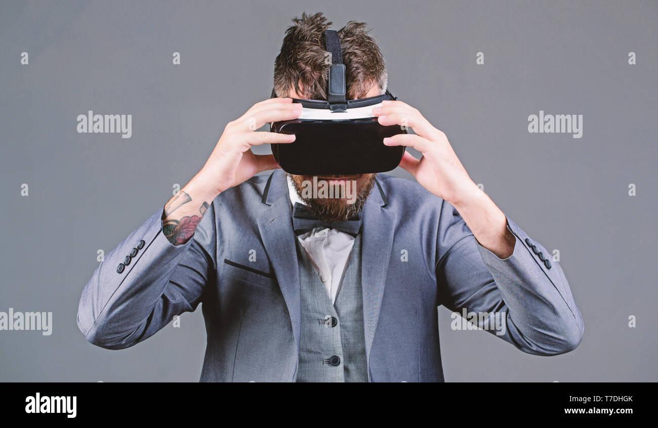 Modern gadget. Innovation and technological advances. Businessman explore virtual reality. Digital technology for business. Business implement modern technology. Business man virtual reality. - Stock Image