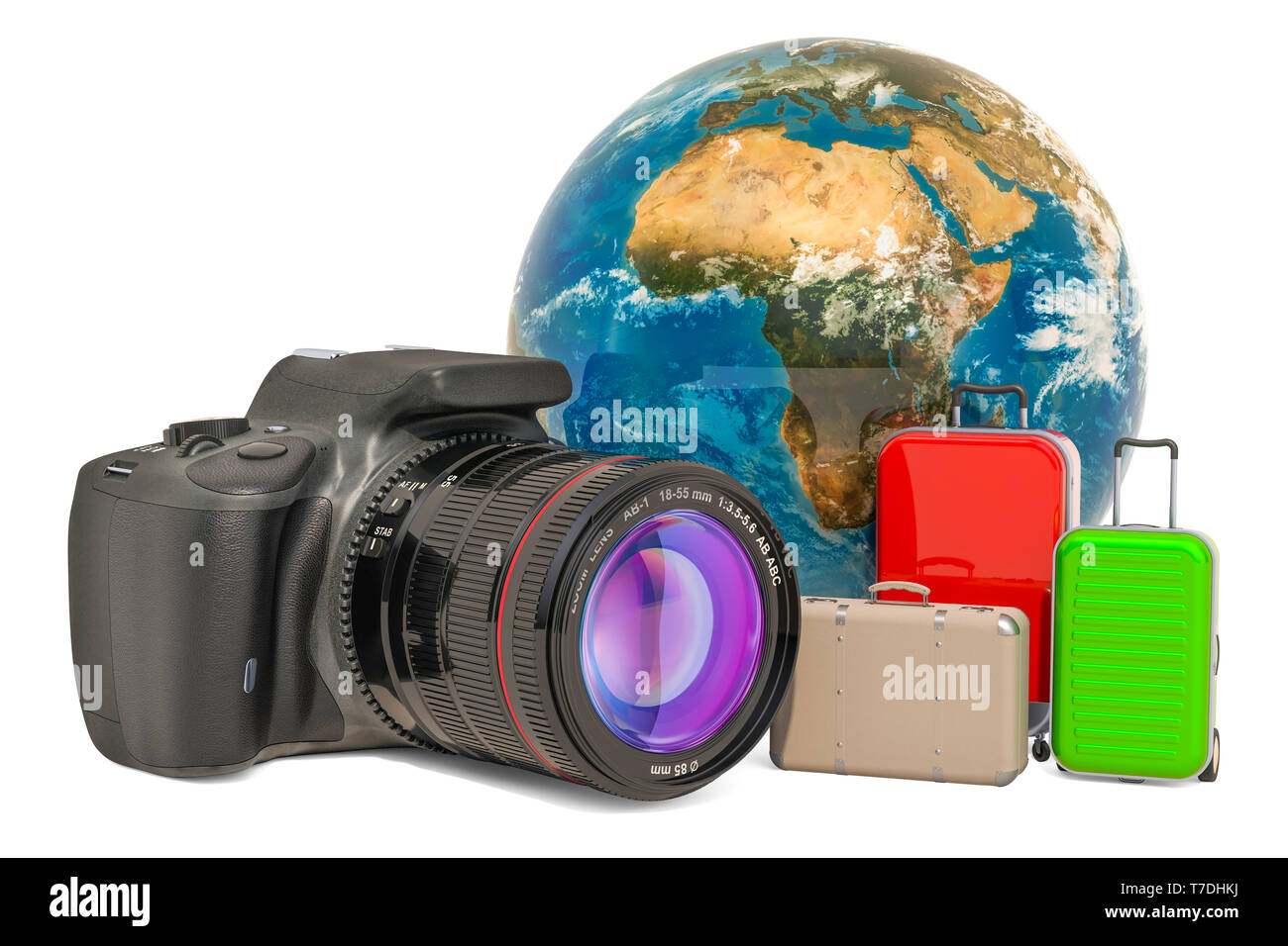 Travel concept with digital single-lens reflex camera, 3D rendering isolated on white background - Stock Image