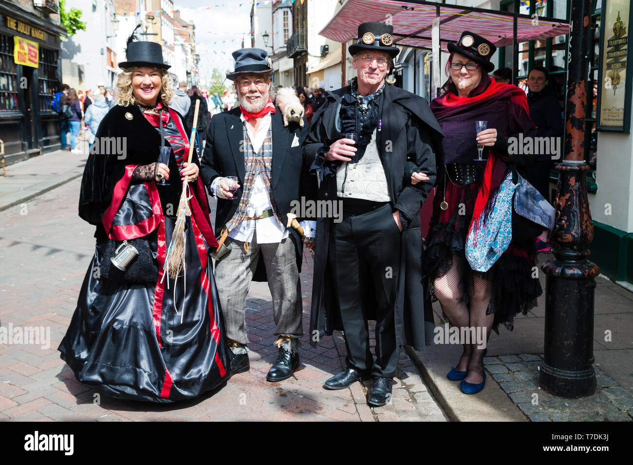 Sweeps Festival Rochester,Kent, UK. 4th May 2019. A group of men and woman in victorian clothing celebrating the festival. - Stock Image