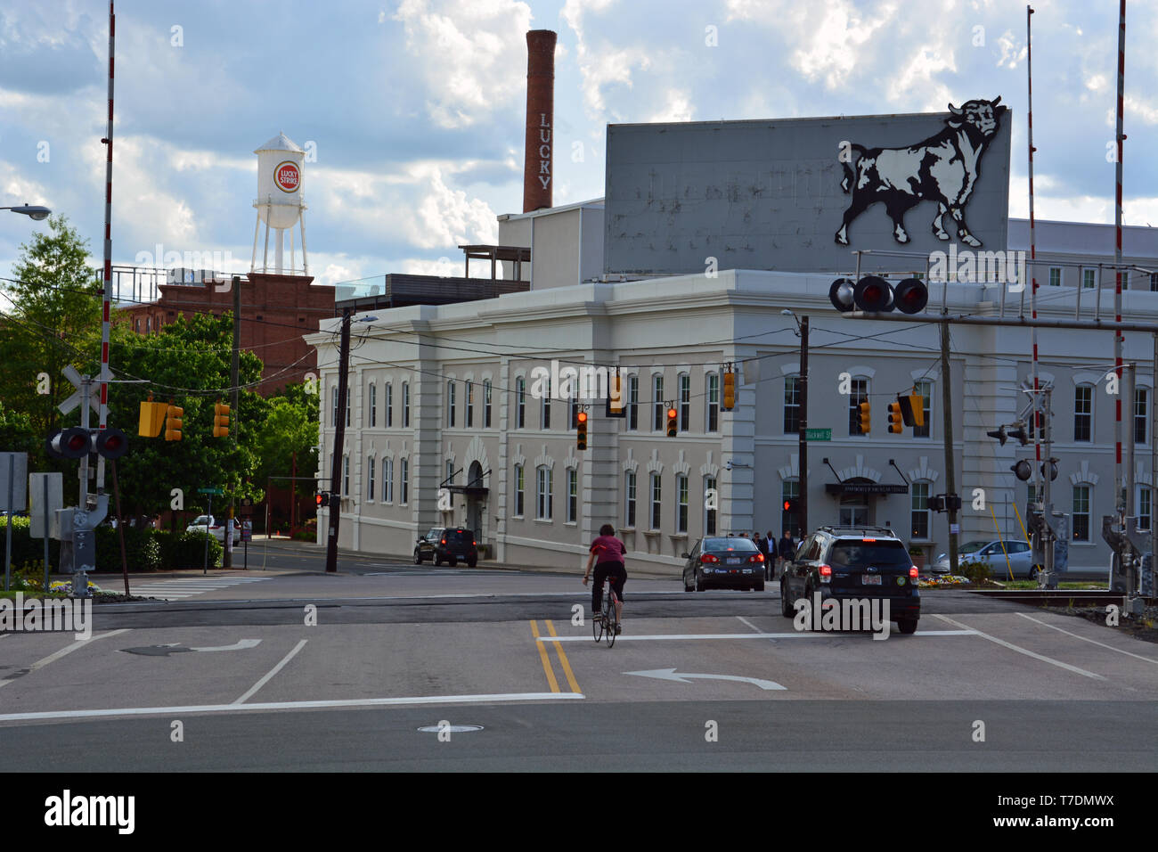 Downtown Durham North Carolina, also known as the Bull City for it's history with cigarettes and Bull Durham Tobacco, once manufactured here. - Stock Image