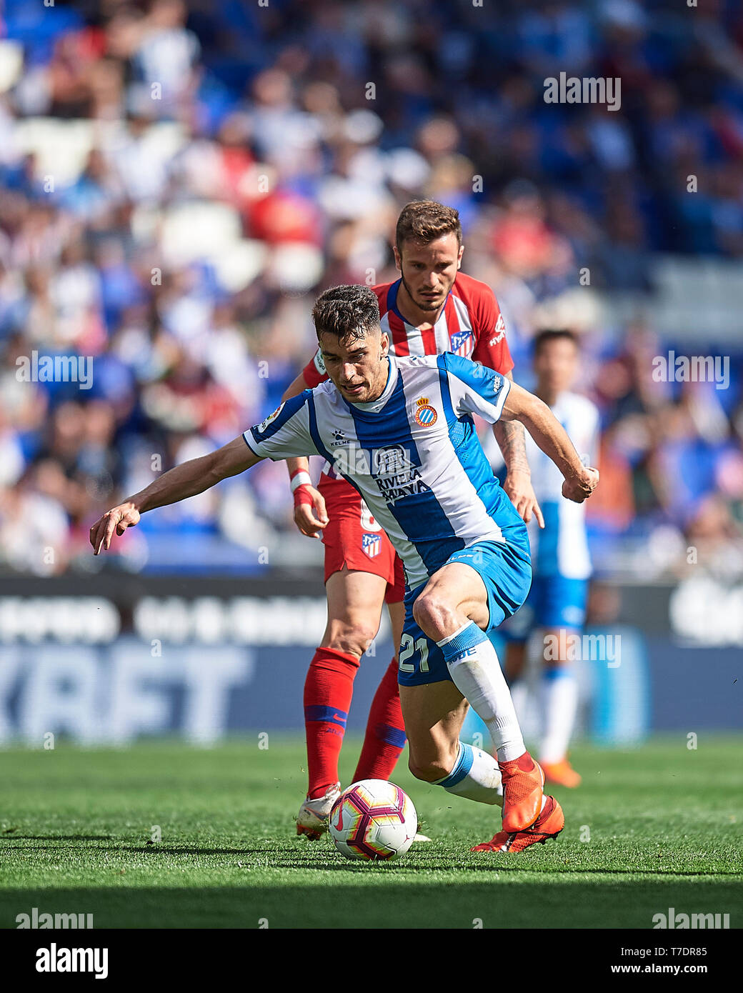 Mario Hermoso of RCD Espanyol and Saœl Niguez of Atletico de Madrid during the match between RCD Espanyol v Atletico de Madrid of LaLiga, date 36, 2018-2019 season. RCDE Stadium. Barcelona, Spain - 04 MAY 2019 - Stock Image