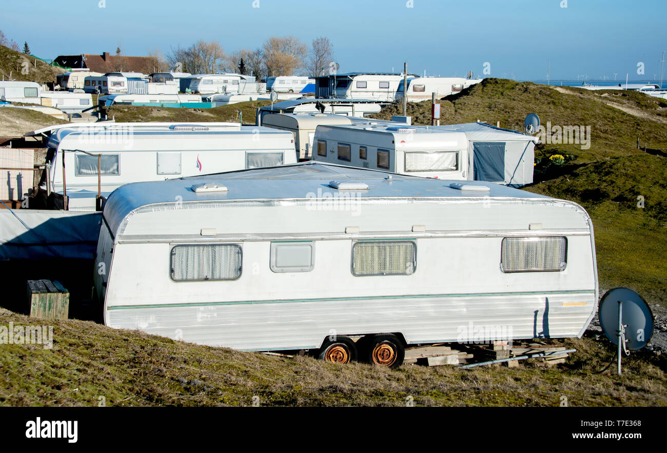 Norderney, Germany  29th Mar, 2019  Caravans are standing on