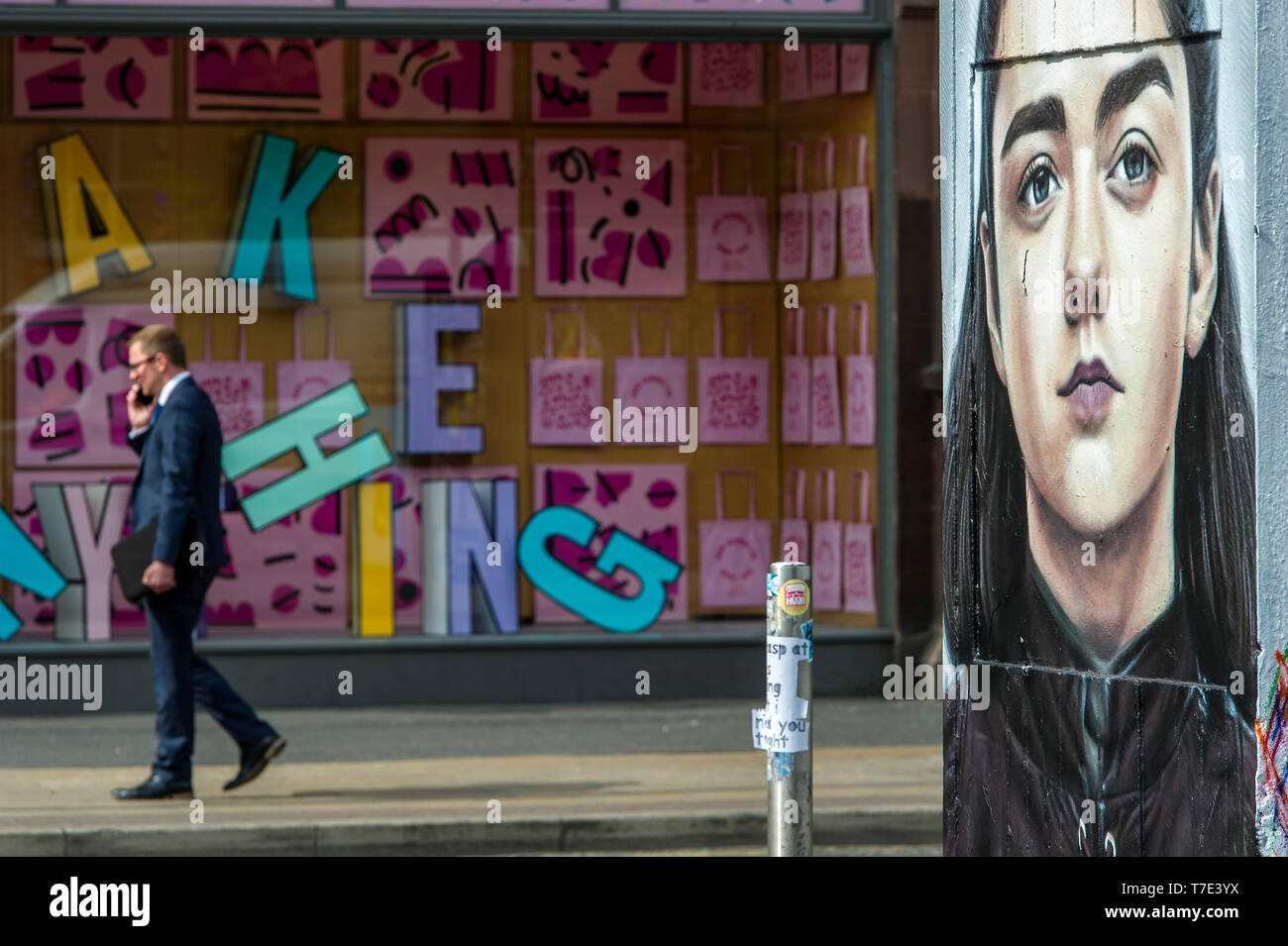 Manchester, UK. 7th May 2019. A new piece of street art has appeared in Stevenson Square in the Northern Quarter of Manchester, UK. The art work depicts the Game of Thrones character Arya Stark, played by actress Maisie Williams, and was created by artist Akse, the French-born street artist who has been living and working in Manchester since 1997. It's all part of outdoor public art project Outhouse MCR, which oversees the street art-rich part of the city centre. Credit: Paul Heyes/Alamy Live News Stock Photo