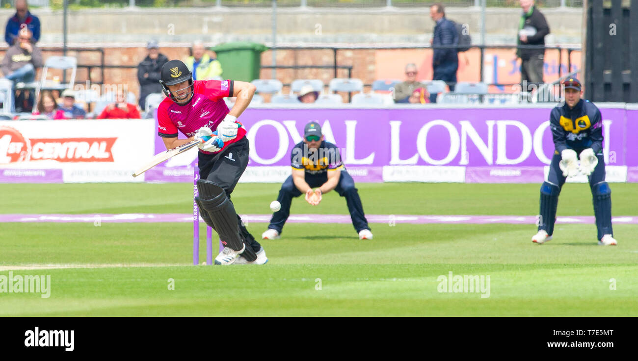 Brighton, UK. 7th May 2019 - Luke Wright batting for Sussex Sharks during the Royal London One-Day Cup match between Sussex Sharks and Glamorgan at the 1st Central County ground in Hove. Credit : Simon Dack / Alamy Live News - Stock Image