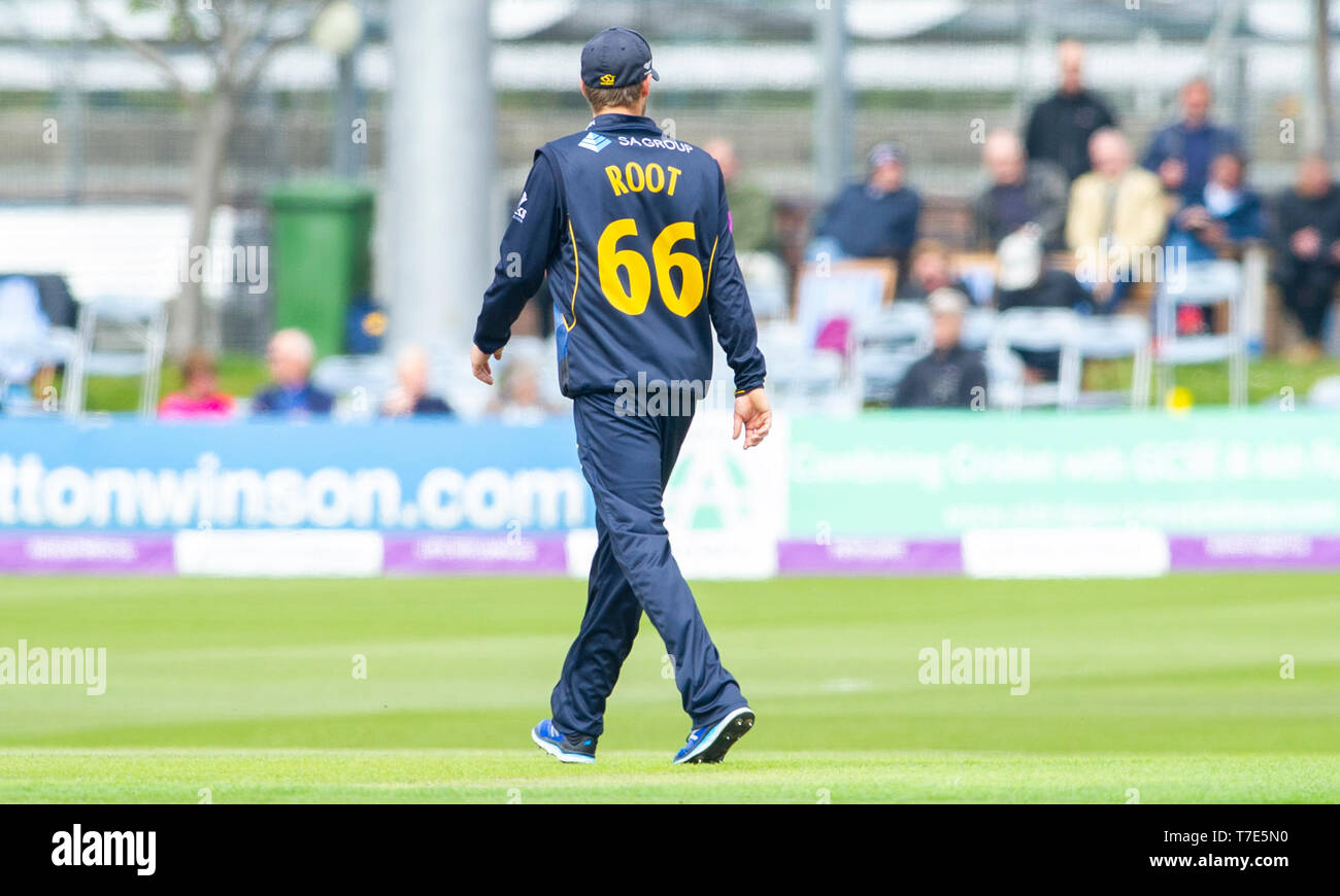 Brighton, UK. 7th May 2019 - Billy Root wearing number 66 of Glamorgan fielding during the Royal London One-Day Cup match between Sussex Sharks and Glamorgan at the 1st Central County ground in Hove. Credit : Simon Dack / Alamy Live News - Stock Image