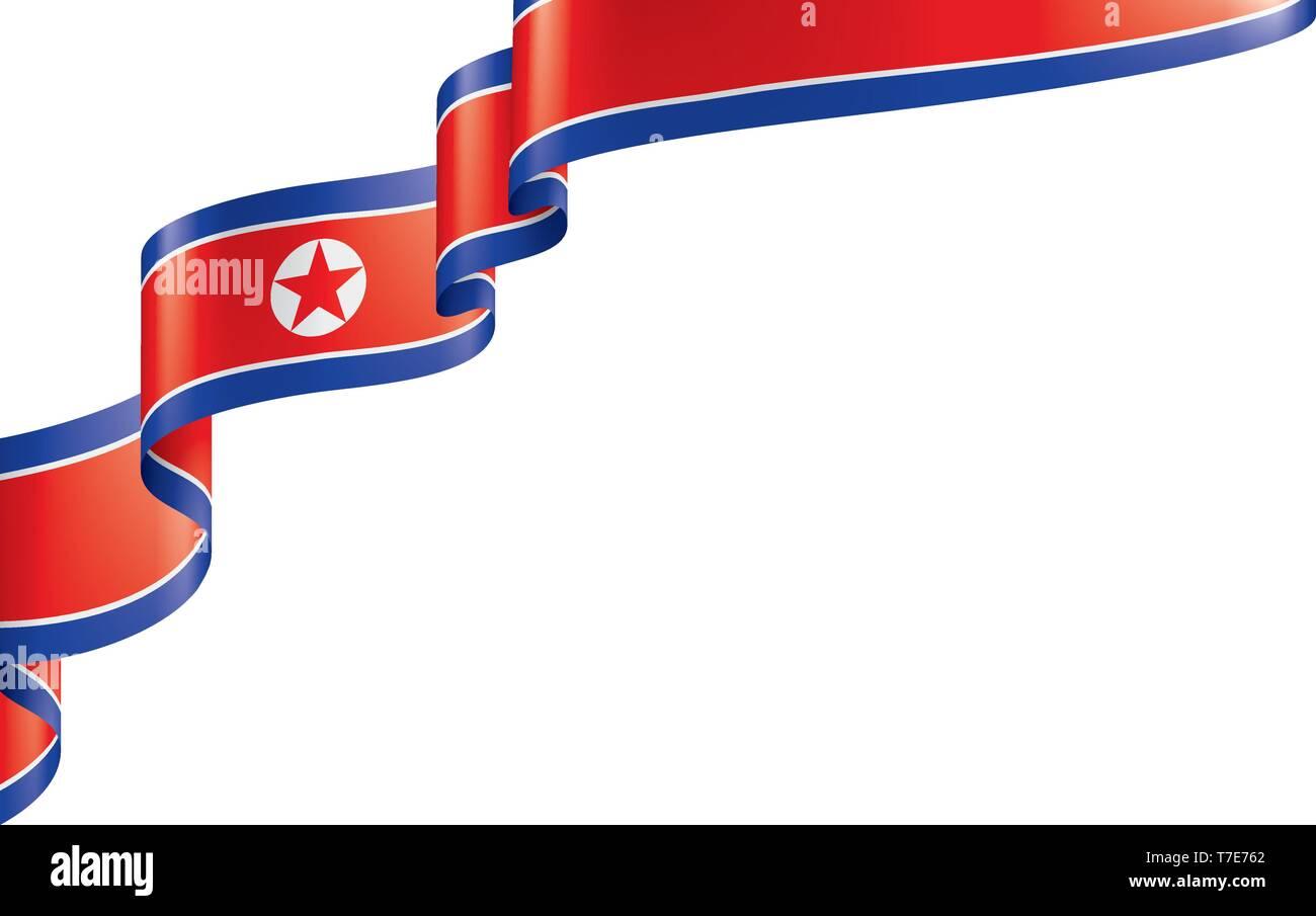 North Korea flag, vector illustration on a white background - Stock Vector