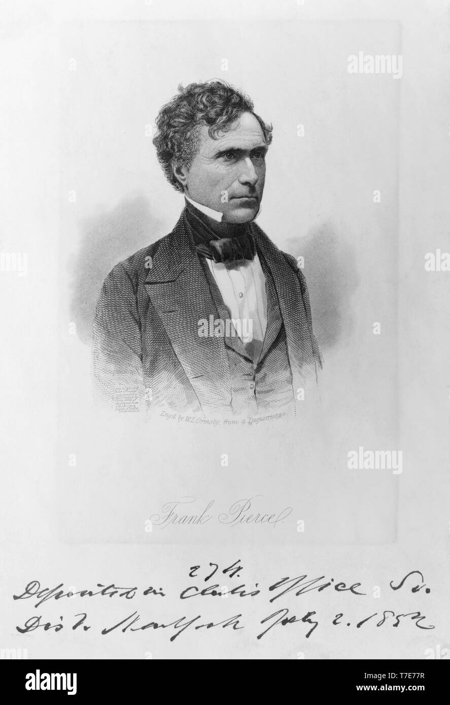 Franklin Pierce (1804-1869), 14th President of the United States, Head and Shoulders Portrait, Engraving by W.L. Ormsby from a Daguerreotype, 1852 - Stock Image