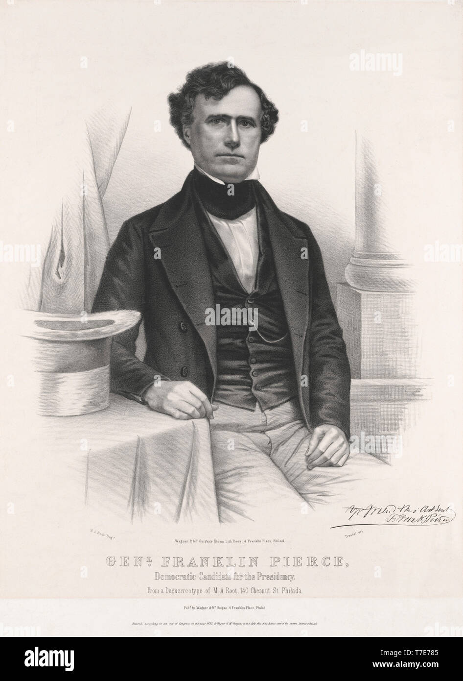 General Franklin Pierce, Democratic Candidate for the Presidency, Lithograph by Wagner & McGuigan from a Daguerreotype by MA. Root, 1852 - Stock Image
