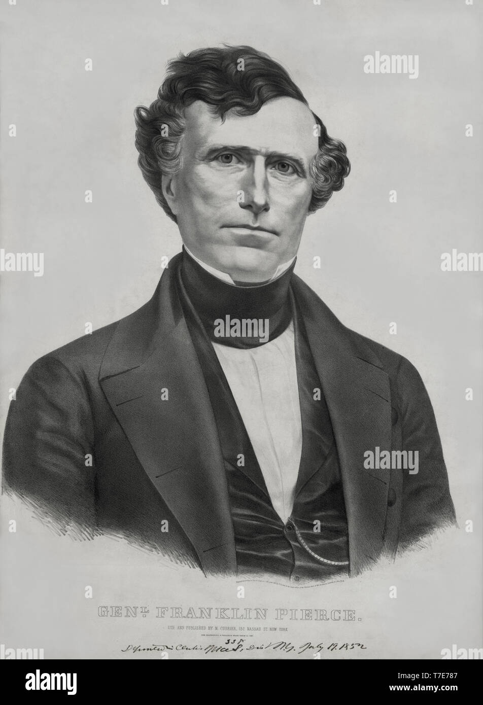 General Franklin Pierce, Democratic Candidate for the Presidency, Lithograph, Nathaniel Currier, 1852 - Stock Image