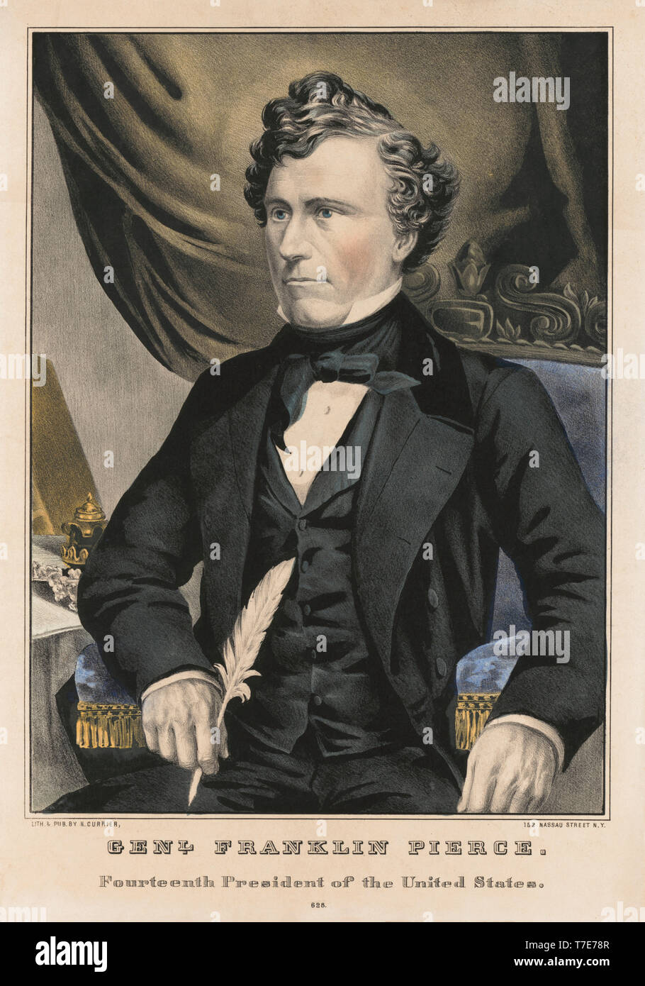 General Franklin Pierce, Fourteenth President of the United States, Lithograph by Nathaniel Currier, 1852 - Stock Image