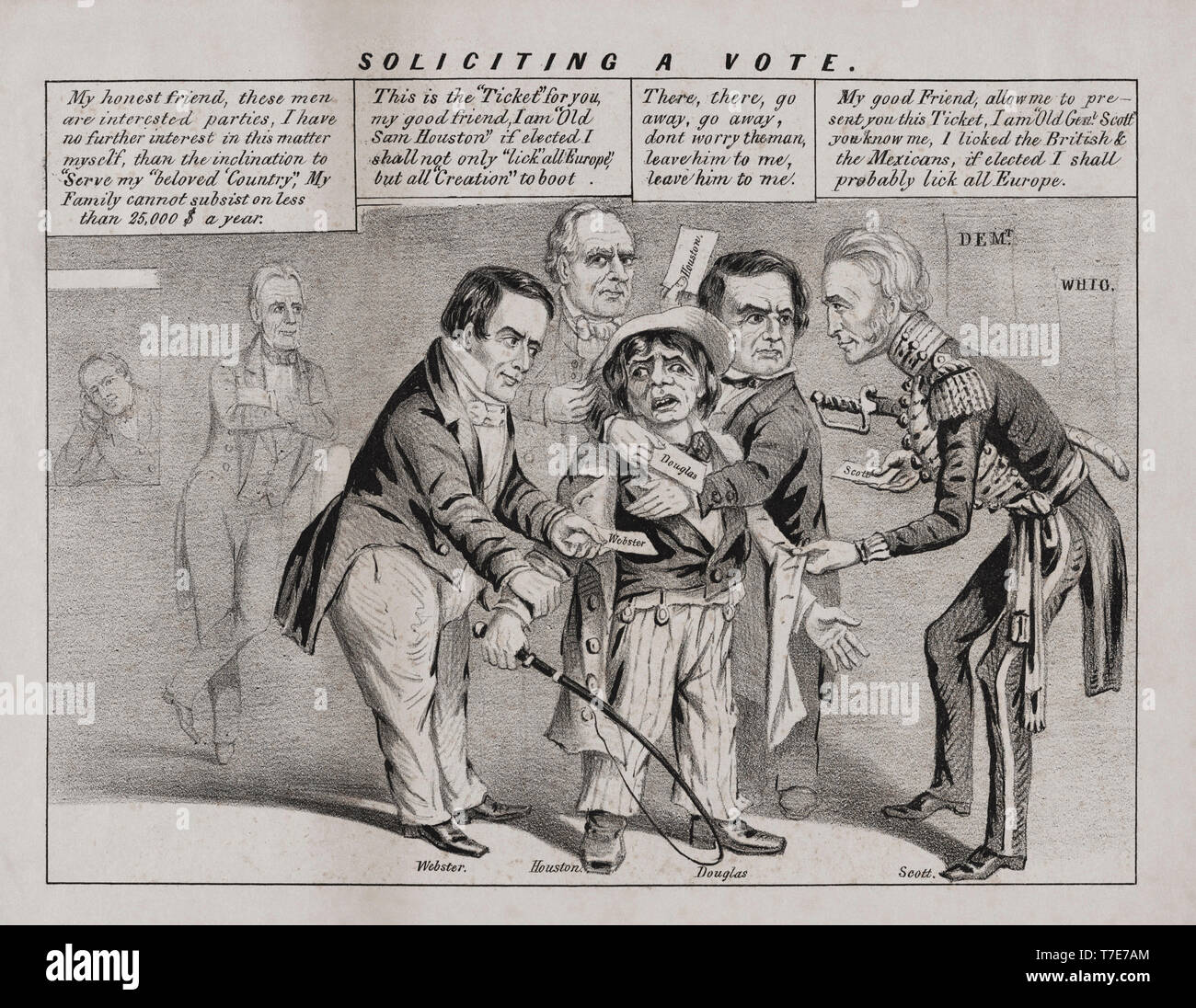 'Soliciting a Vote', Political Cartoon during U.S. Presidential Campaign Featuring Stephen Douglas, Sam Houston, Winfield Scott, Daniel Webster,  Lithograph, John L. Magee, 1852 - Stock Image
