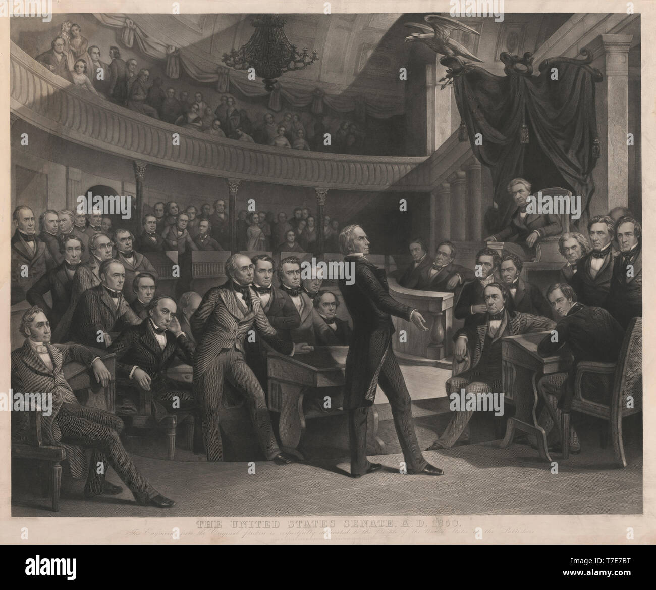 The United States Senate, A.D. 1850, Henry Clay Speaking about the Compromise of 1850 in the Old Senate Chamber, Drawn by P.F. Rothermel, engraved by R. Whitechurch, Published by John M. Butler and Alfred Long, 1855 - Stock Image