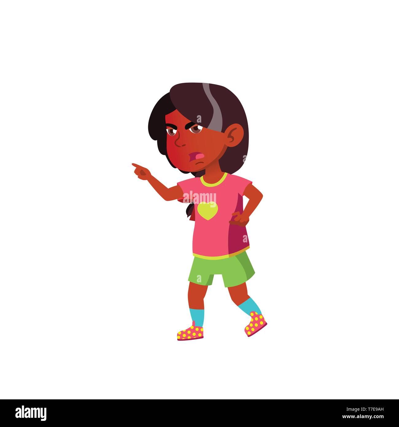 Indian Child Girl Cartoon Isolated Vector Illustration Stock