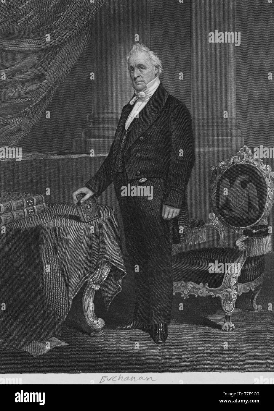 James Buchanan, Image 4 of James Buchanan and Harriet Lane Johnston Papers: Series IV: Additions, 1842-1867; Addition III; Correspondence, Buchanan to; Cabinet of Franklin Pierce, 1857 - Stock Image