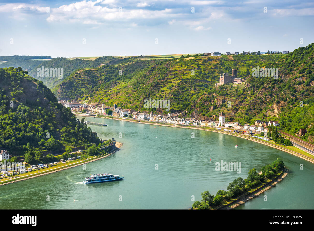View from Loreley to Sankt Goarhausen, Germany Stock Photo