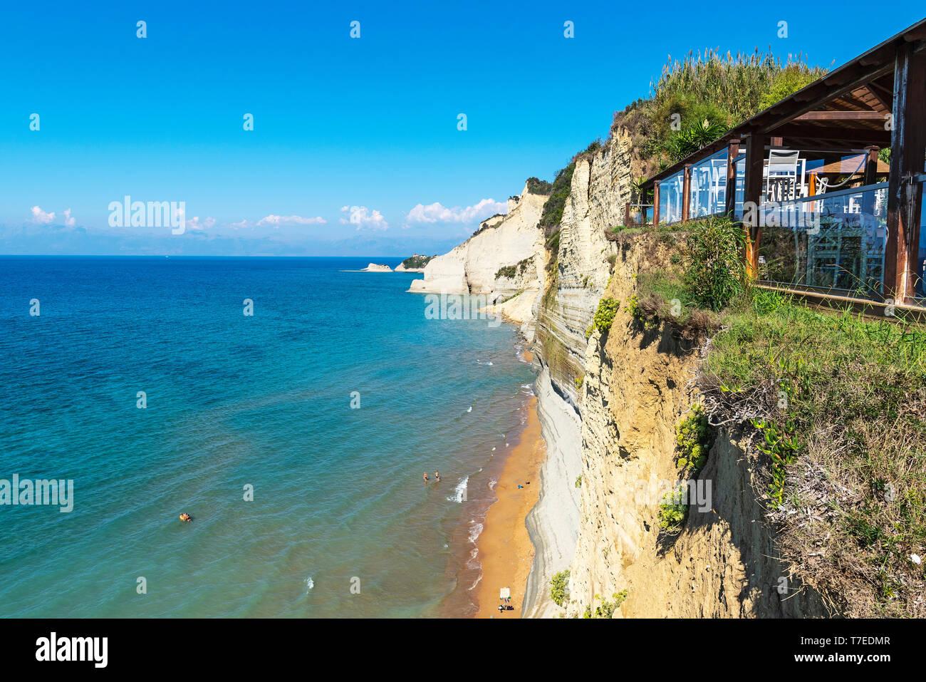 Sunset Bar, Logas Beach, Logas, Peroulades, Corfu Island, Ionian Islands, Mediterranean Sea, Greece - Stock Image