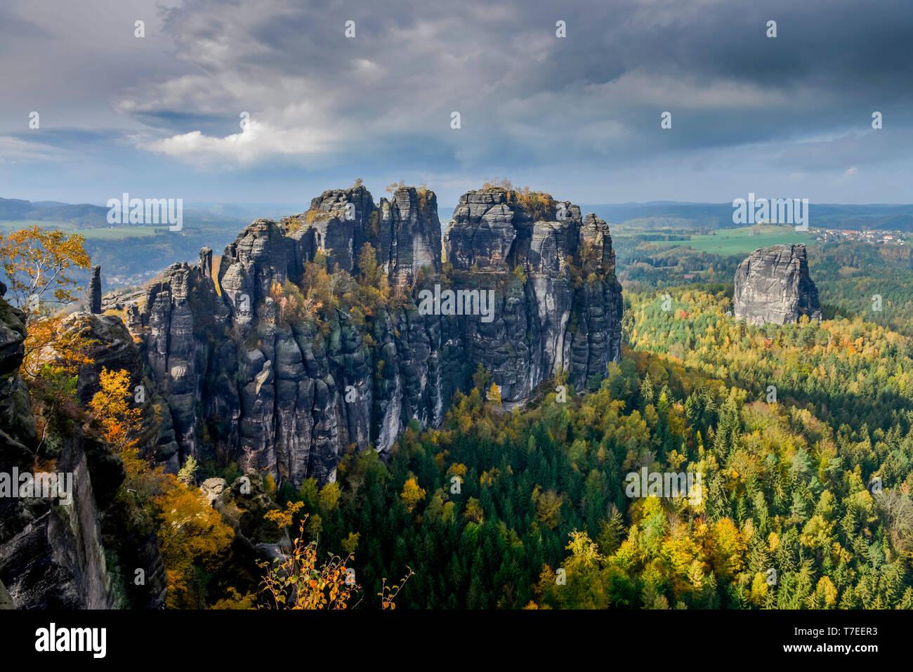 Schrammsteine, Nationalpark Saechsische Schweiz, Sachsen, Deutschland Stock Photo