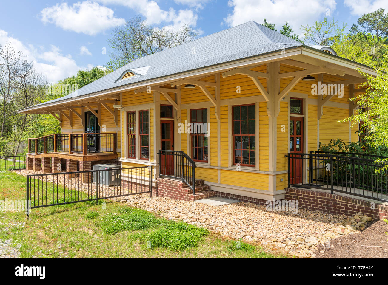 JONESBOROUGH, TN, USA-4/28/19: The museum in the old Chuckey train depot stands in Rowe Park. - Stock Image