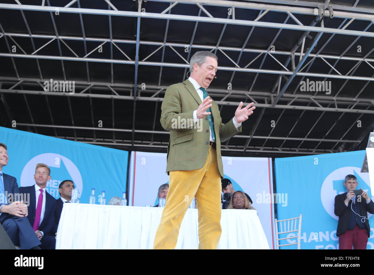 Brexit party leader Nigel Farage speaking in Chester at a Brexit party rally ahead of the European election Stock Photo