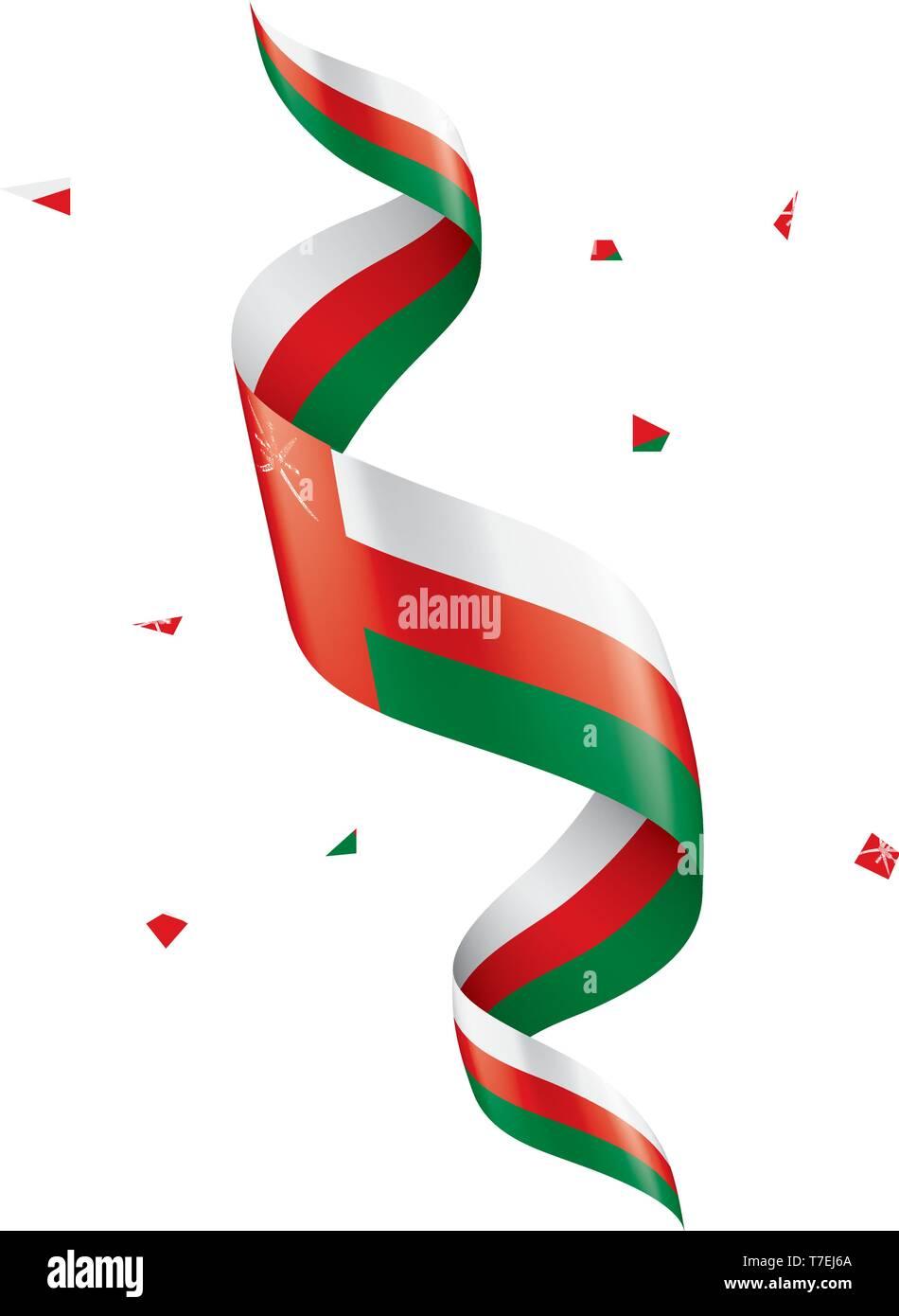 Oman flag, vector illustration on a white background - Stock Image