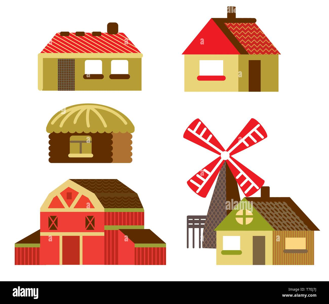 Colorful decorative set of outline red cartoon Barn, mill and country houses. Farm vector cartoon flat illustration in different colors isolated on wh - Stock Image