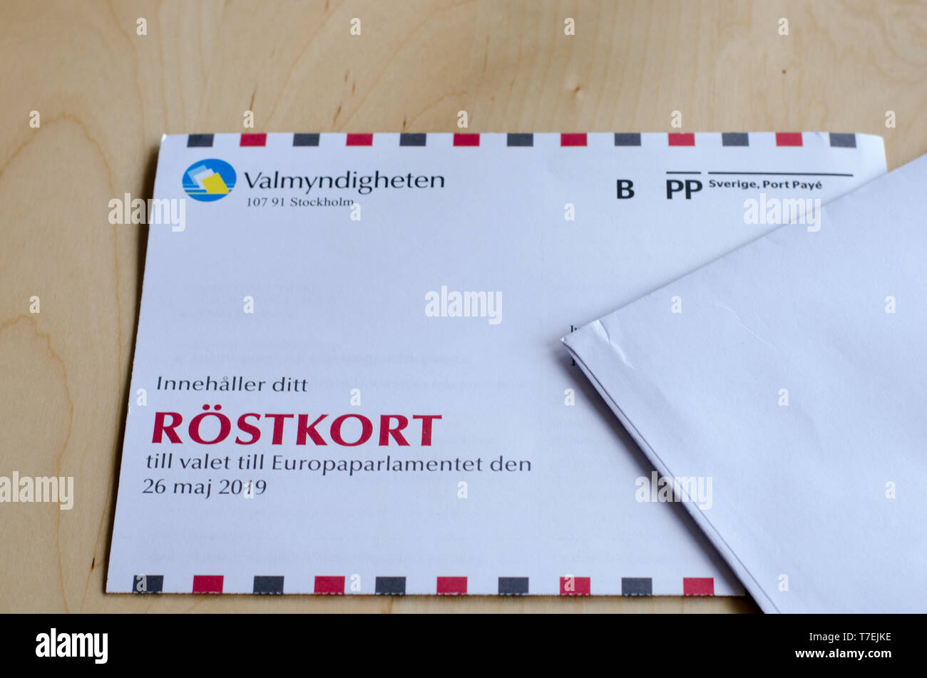 Stockholm, Sweden 6 May 2019. A voting card for the Swedish election to the European Parliament lying on the wooden table. - Stock Image