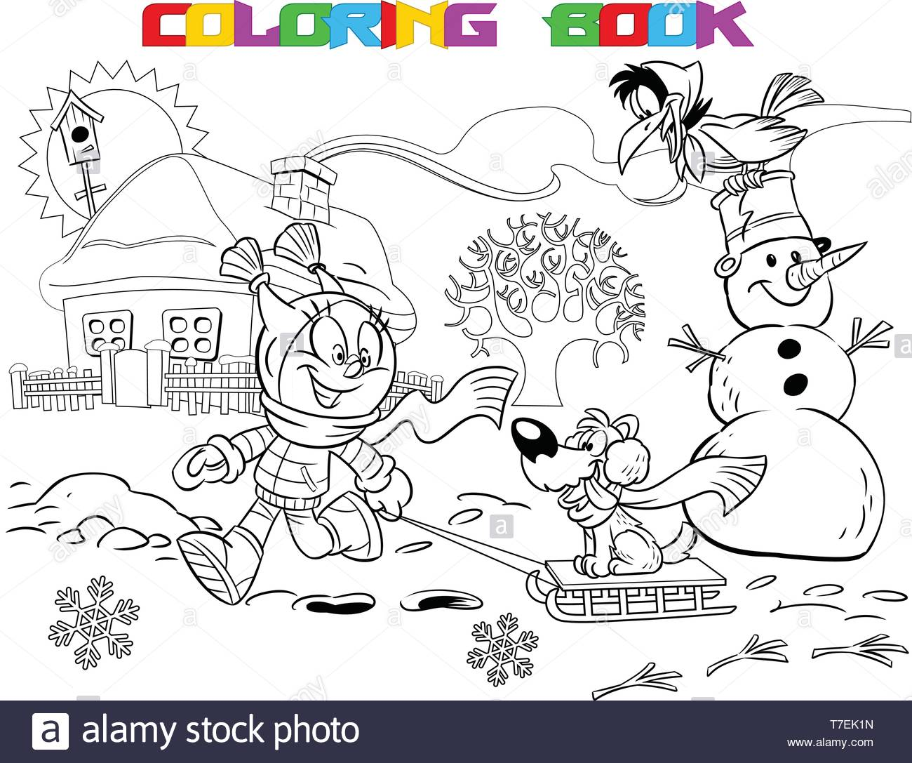 Little girl on a fun walk near the house. This winter, a lot of snow. A child plays with a puppy.  Is made a black outline for a coloring book. - Stock Image
