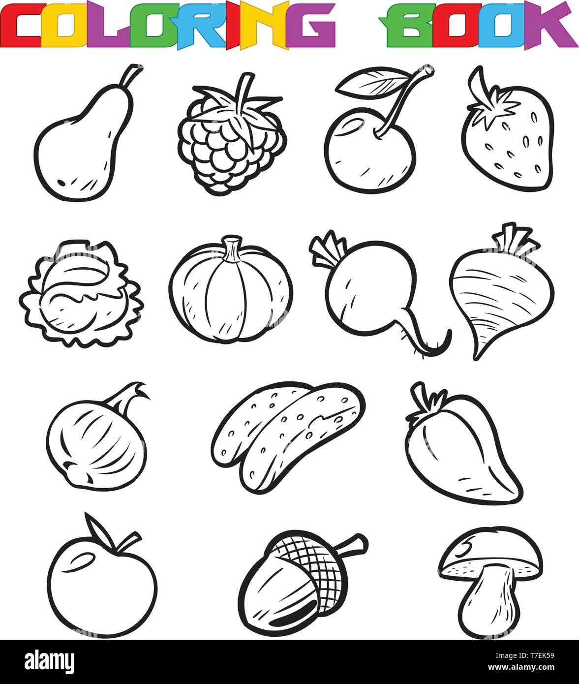 Fruits Vegetables Coloring Book Stock Photos Fruits Vegetables