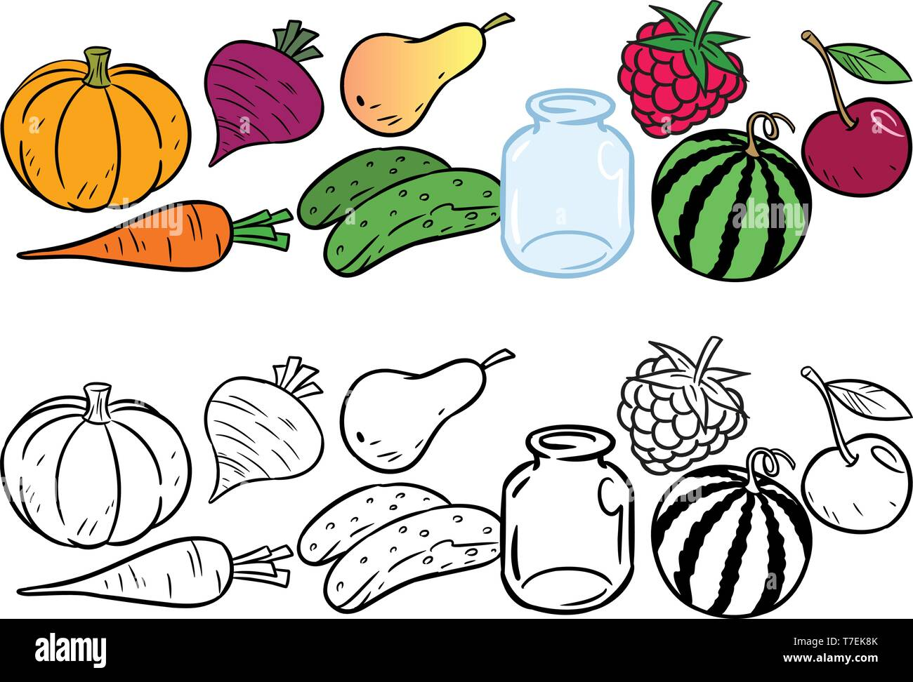 The illustration shows a set of different types of vegetables and fruits. Is made a black outline for a coloring book. - Stock Vector