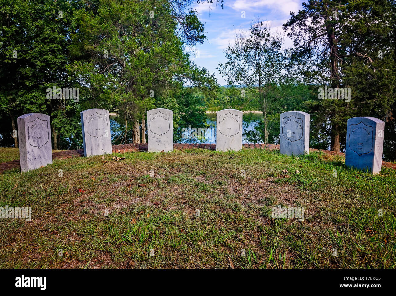 Headstones mark the Wisconsin Color Guards' graves at Shiloh National Cemetery in Shiloh National Military Park, Sept. 21, 2016, in Shiloh, Tennessee. - Stock Image