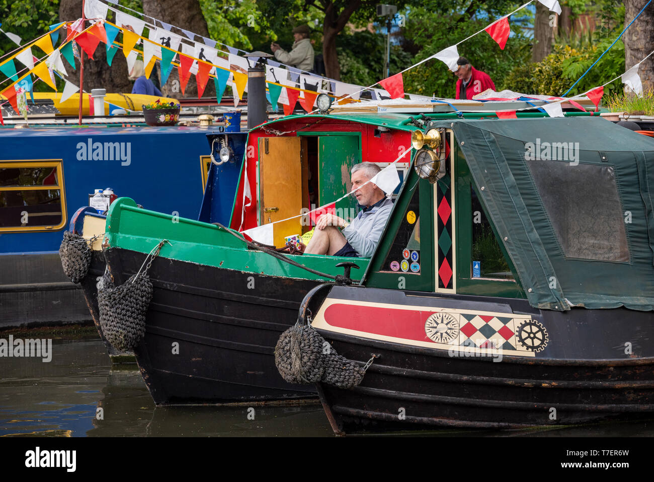 Inland Waterways Canalway Cavalcade Festival 2019, Little Venice, Paddington, London, UK. Over 100 narrowboats took part, attracting large crowds. Stock Photo