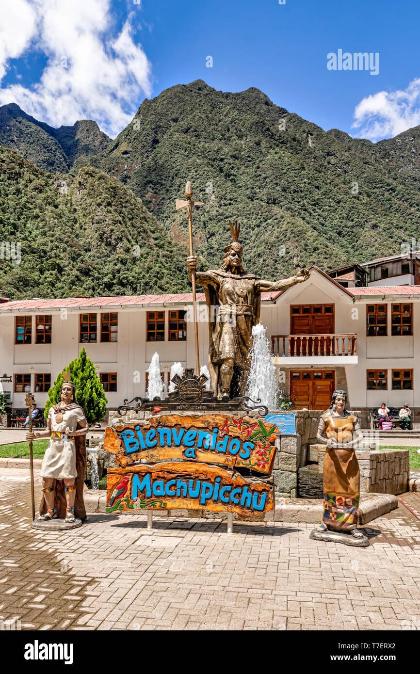 Aguas Calientes, Peru - April: Statue of Pachacuti in Aguas Calientes, Peru. Pachacuti was the 9th Sapa Inca of the Kingdom of Cusco. - Stock Image