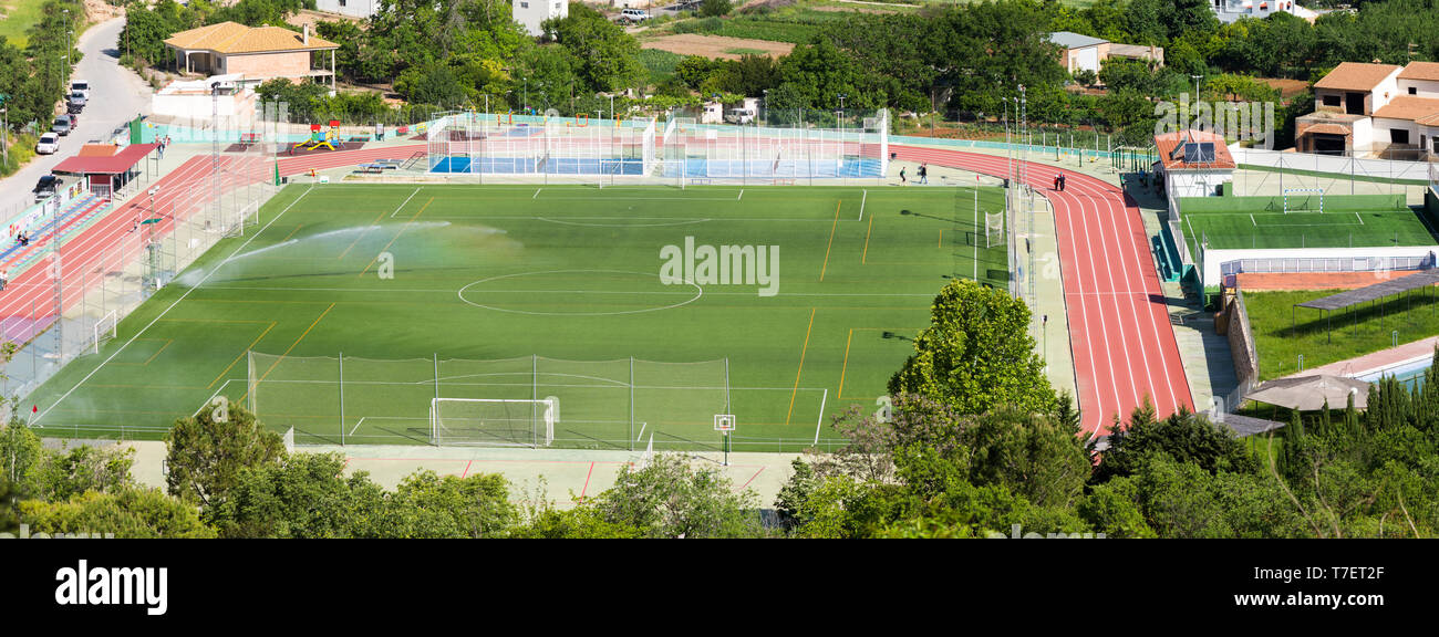 Soccer field, football field irrigation, Cuevas de san Marcos, Andalucia, Spain. - Stock Image